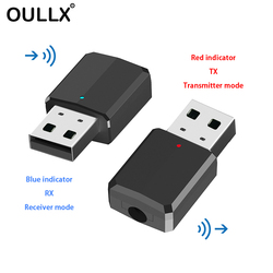 OULLX Portable Mini 2in1 Bluetooth 5.0 Transmitter Receiver 3.5mm AUX USB Wireless Stereo Audio Adapter for Home TV MP3/4 PC Car