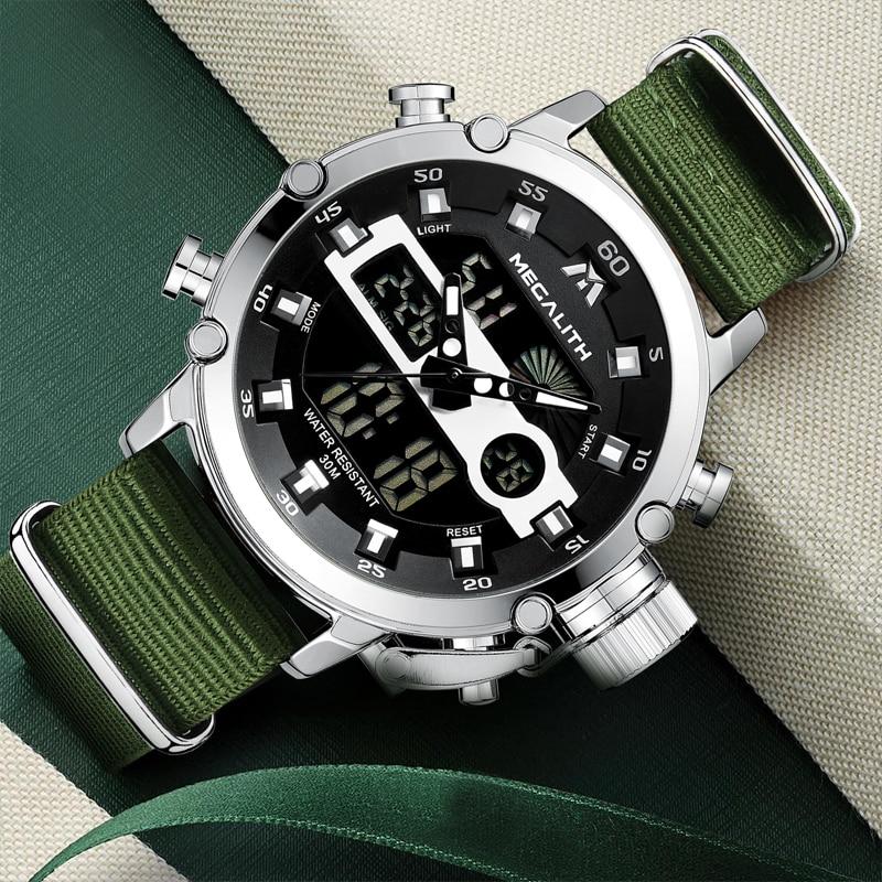 Relogio Masculino MEGALITH Sport Waterproof Watches Men Luminous Dual Display Alarm Top Brand Luxury Quartz Watch Wholesale 8051 2