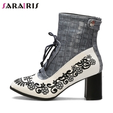 SARAIRIS New Winter Hot Sale 32-43 Ladies Embroider Booties Fashion Fretwork Ankle Boots Women 2019 High Heels Shoes Woman