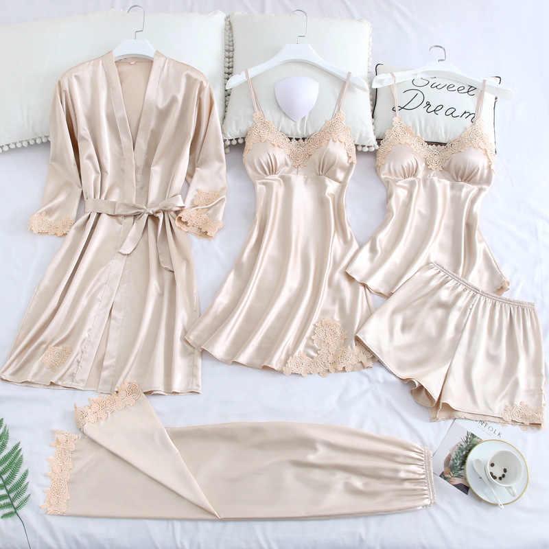 5 Pcs סטי פיג 'מה נשים הלבשת מוצק סקסי לילה חליפה עם כרית חזה ספגטי רצועת תחרה Nightwear פיג' מות Mujer Loungewear