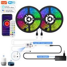 Tuya inteligente luzes de tira led wifi rgb led luz tira 12v 5050 trabalho com alexa google voz controle remoto 30led/m cor mudando