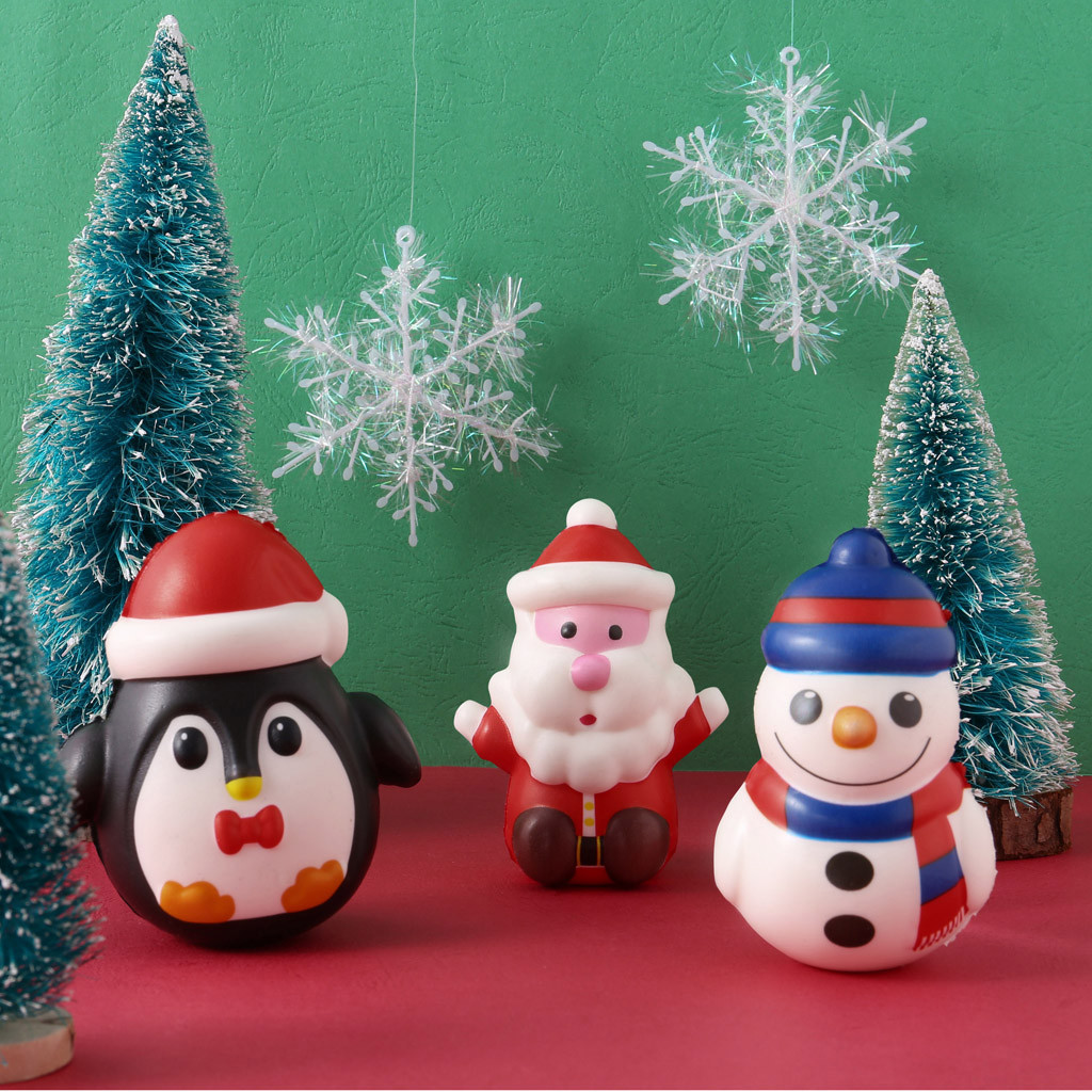 Christmas Santa Exquisite Slow Rising Ball Adorable Snowman Bun Pendant Kids Gift Charm Squishies Squeeze Toys Stress Relief Toy