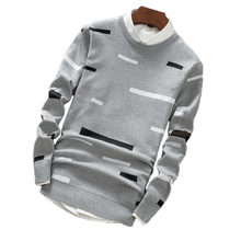 Sweater autumn new mens fashion casual sweater high quality cotton soft and comfortable round neck