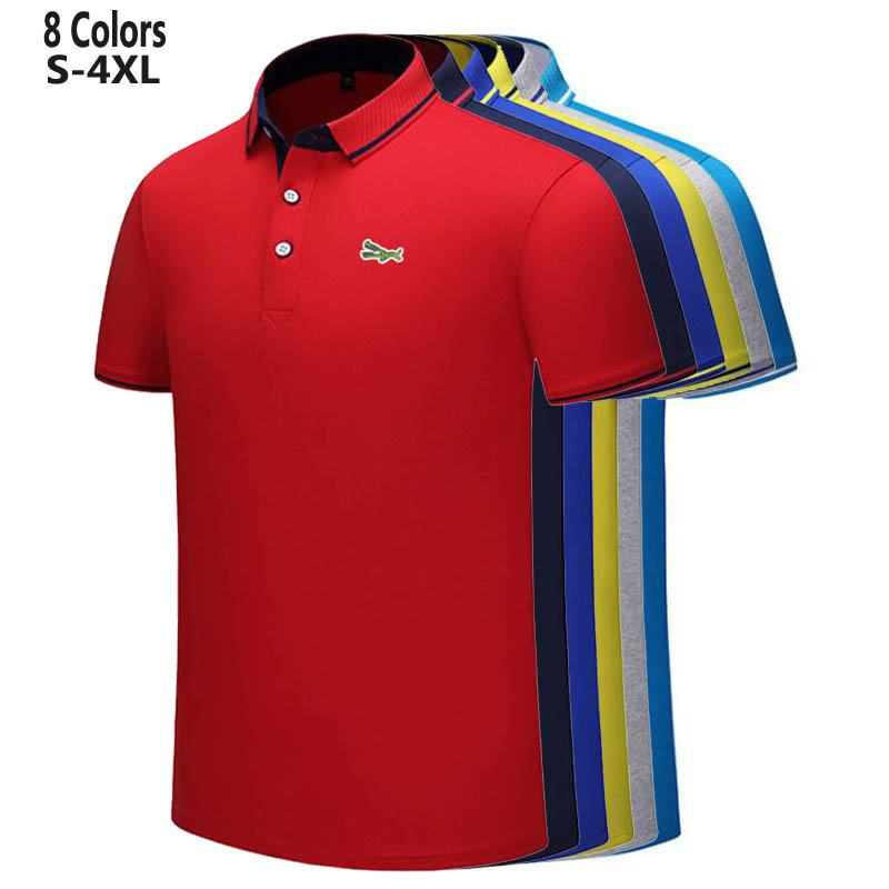 S 4XL New Design 2020 Summer Mens Short Sleeve Polos Shirts Embroidery Logo Casual Cotton Polos Homme Male Clothes Lapel Tops