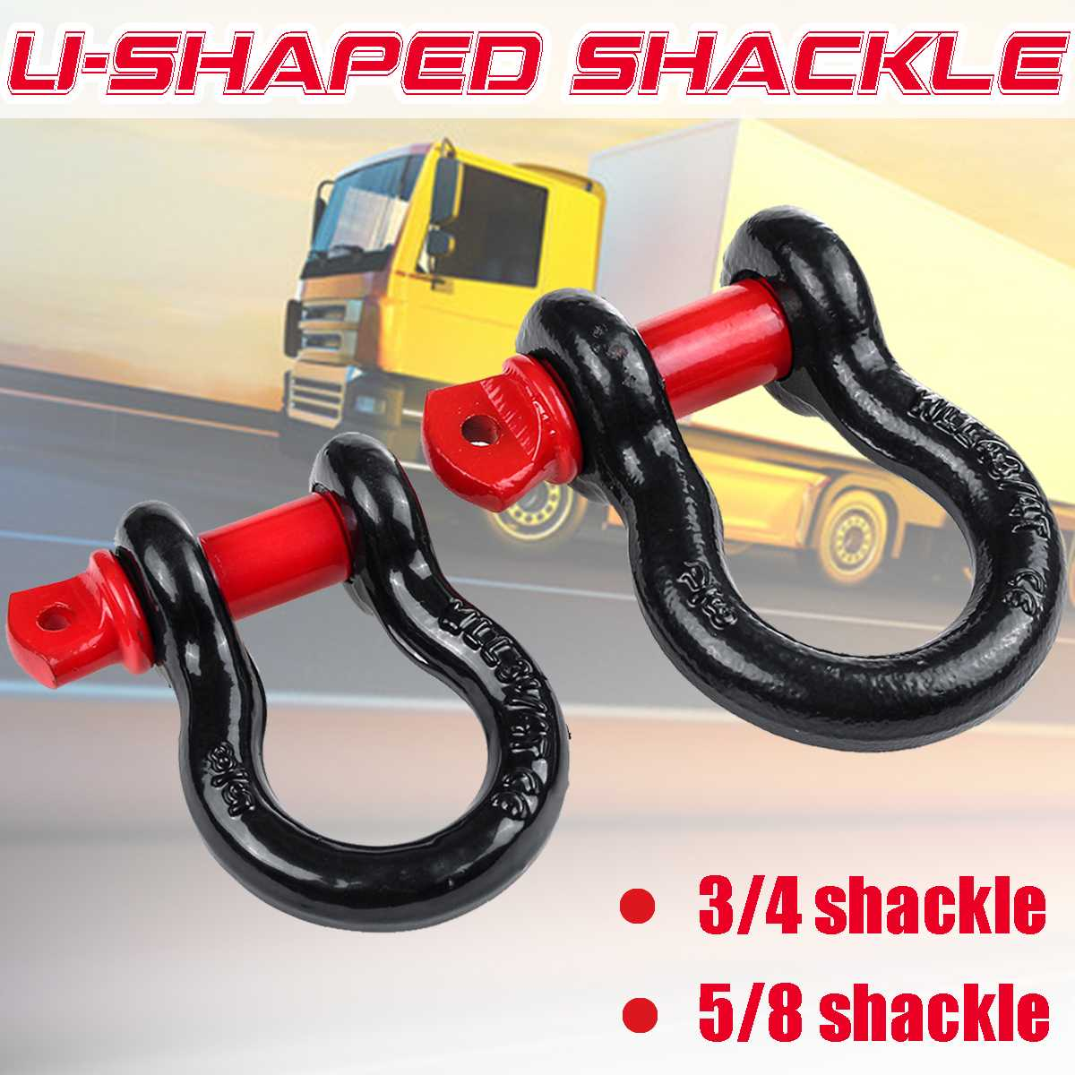 Trailer Hook Heavy Duty Galvanized Shackles D Ring 12,000 Lbs Capacity For Vehicle Recovery Towing Car 3/4 5/8 Shackle Universal