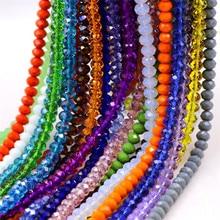Contas de vidro de cristal de qualidade aaa, contas facetadas de 3 4 6 8 10mm, espaçador rondas, fabricação de joias para faça você mesmo projetos de contas