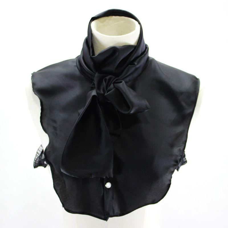 Satin DIY Bowtie Half Shirt Pleated Stand Fake Collar Adjustable Necklace Choker Hot New