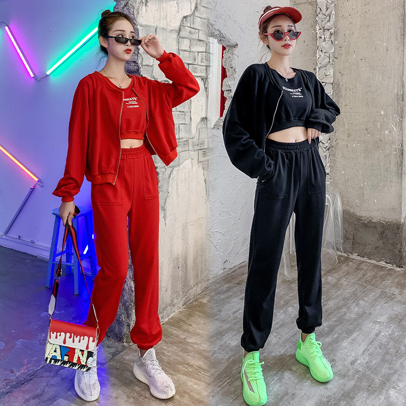 With Cotton 2019 Autumn And Winter Europe And America Zipper Long-sleeved Sweater Long Vest Fashion & Sports Casual Three-piece