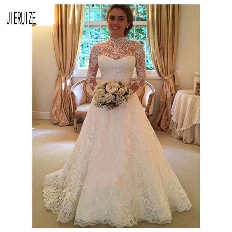 JIERUIZE High Collar Lace Wedding Dresses 2019 Vintage Sheer Long Sleeves Open Back Bridal Gowns Bow Sash Robe De Marriage