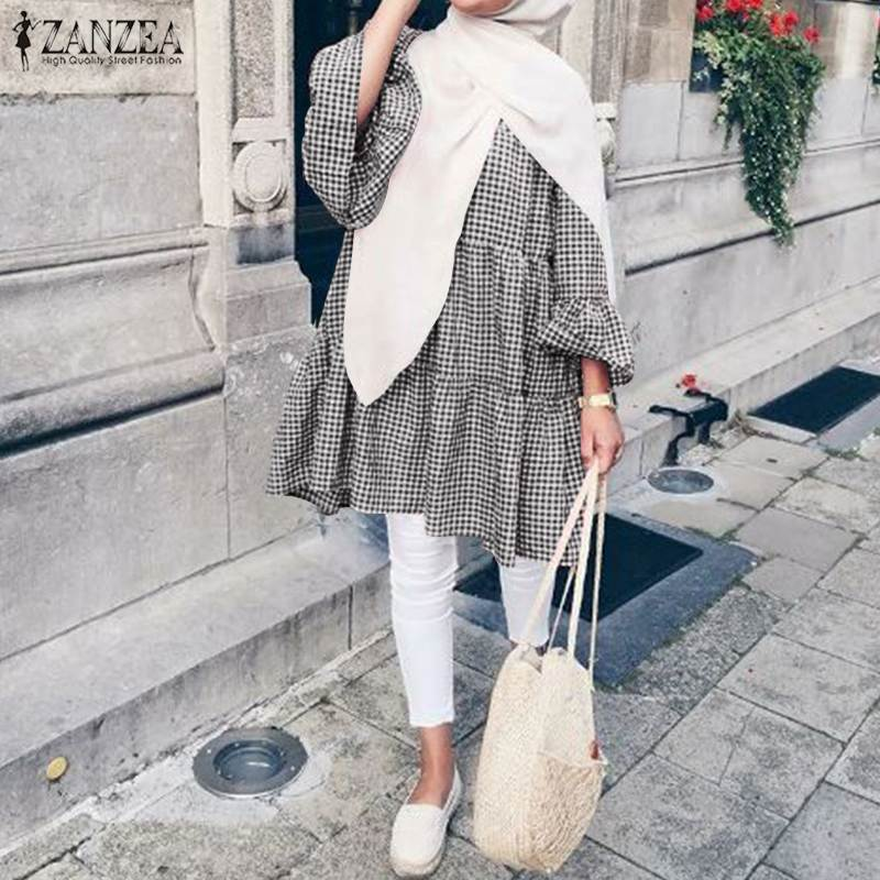 Abaya Turkey Women Blouse Casual Islamic Clothing Loose Tunic Ladies Kaftan Muslim Plaid Tops 2021 Spring ZANZEA Elegant Blusas
