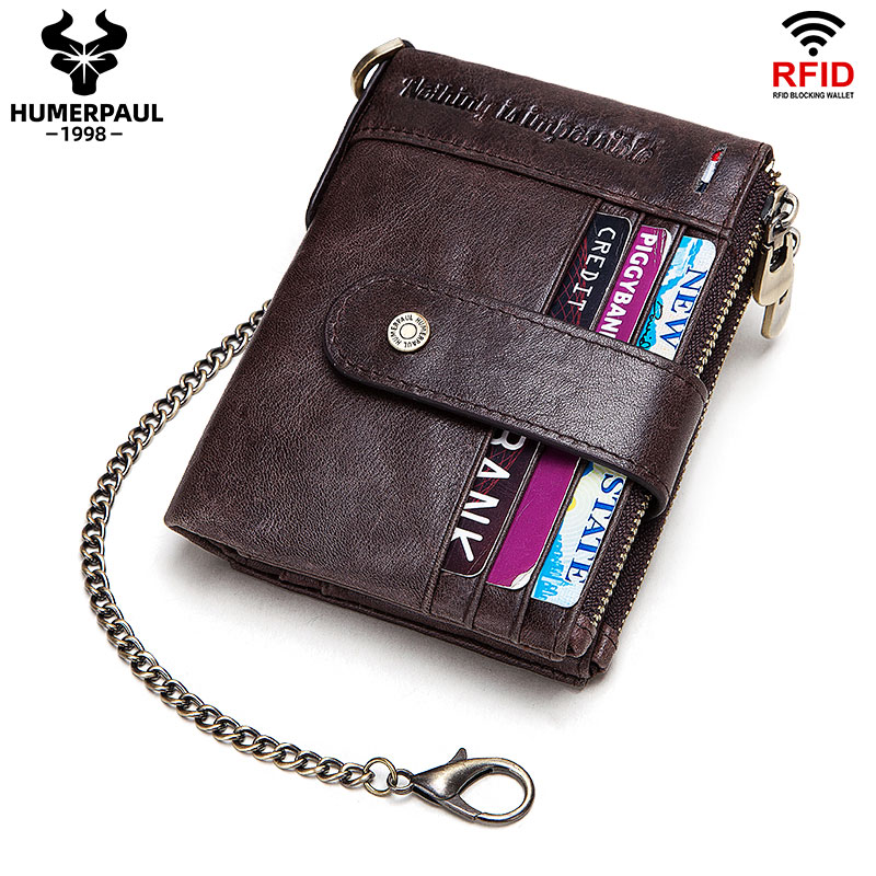 100% Genuine Leather Rfid Wallet Men Crazy Horse Wallets Coin Purse Short Male Money Bag Card Holder Case Mini Walet Small Chain