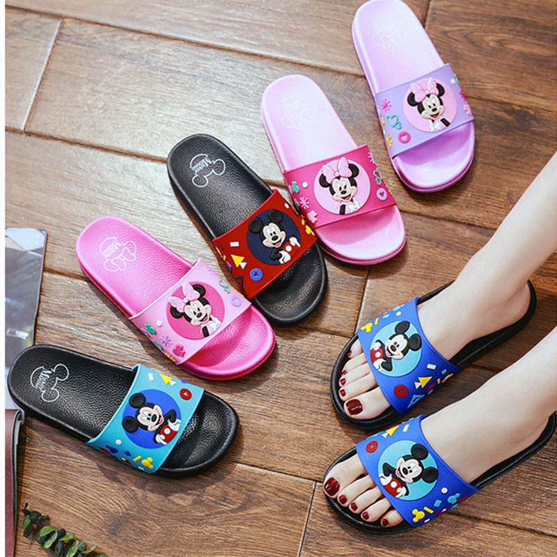 Disney Mickey Minnie Women Sandals Cute Home Indoor Bathroom Men Slippers Non-slip Soft Couples Shoes Children Flip Flops Gifts