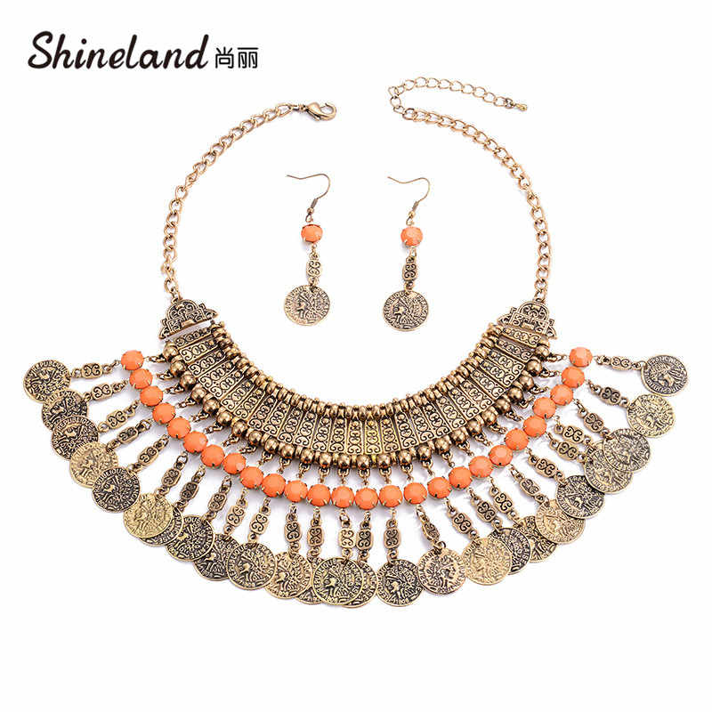 Shineland Collar Coin Necklace & Earrings Vintage Maxi Choker Statement Collier Tassel Boho Big Fashion Women India Jewelry Set