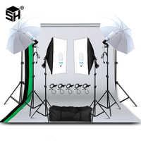 Equipo de iluminación de fotografía profesional Kit de paraguas de luz suave soporte softbox enchufe de bombillas de luz Kit de estudio fotográfico