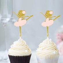 Золото 5шт блеск танцующая девушка балерина кекс Ботворезы выбирает торт для свадьбы вечеринку День Рождения украшения свадебные