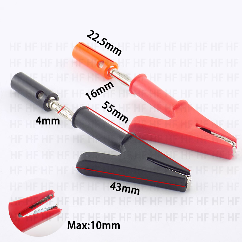 Banana Plug 4mm Connector Alligator Clip Probe Test Electric Black Red Color Cable Alligator Socket Insulated DIY Crodile Clips
