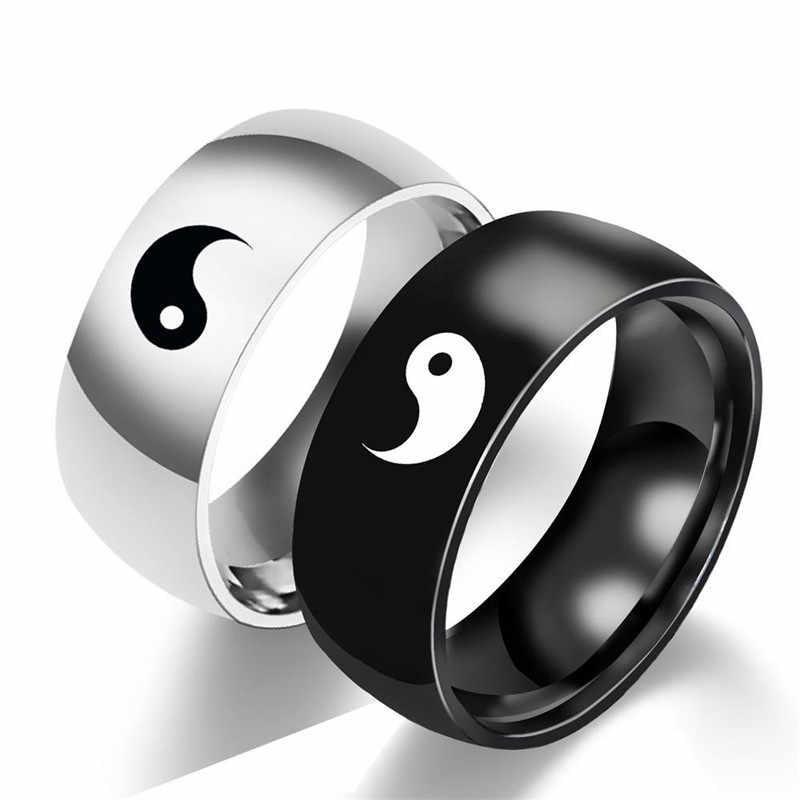 Yin Yang คู่แหวนผู้ชายอุปกรณ์เสริม Tai Chi รูปแบบ Lover แหวนสำหรับสตรี VINTAGE เครื่องประดับหมั้นแหวนหญิงแหวนแฟชั่น