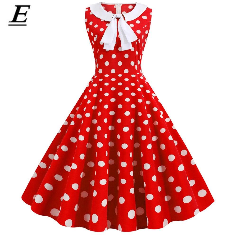 Czerwony Polka Dot drukowane sukienka vintage kobiet 2020 lato Retro szczupła kołnierz piotruś pan pin up przyjęcie rockabilly sukienka Vestidos