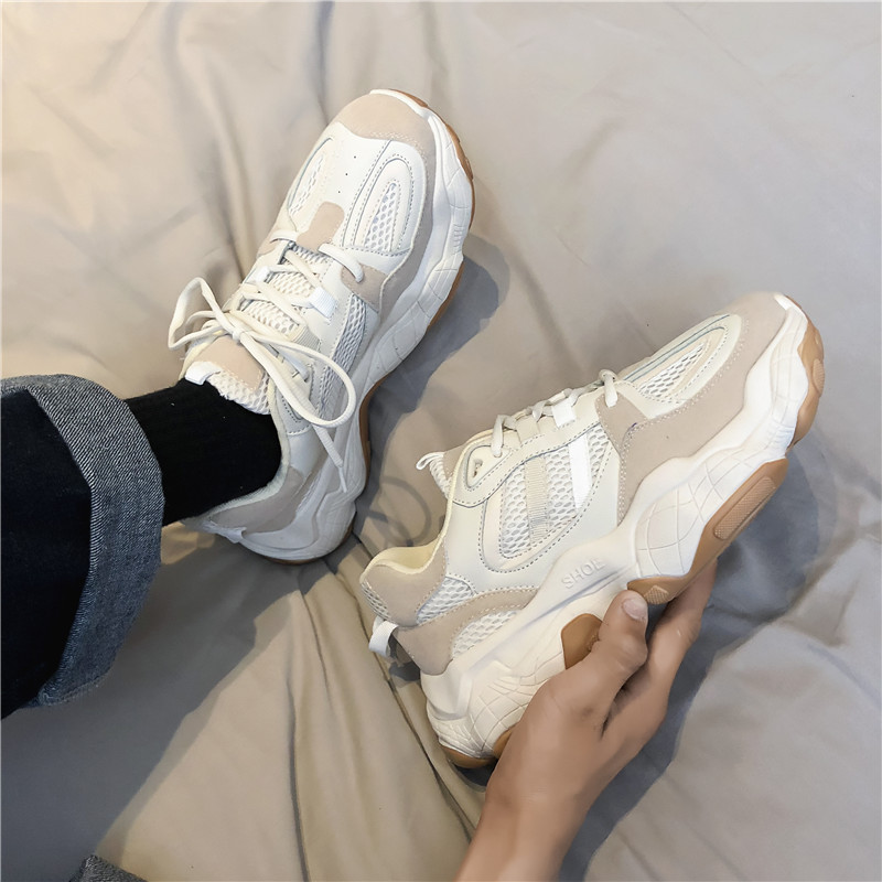 Male White Sneakers Spring 2019 New Wave Of Summer Shoes PU+mesh  High Breathable Sports Shoes Men D6-46