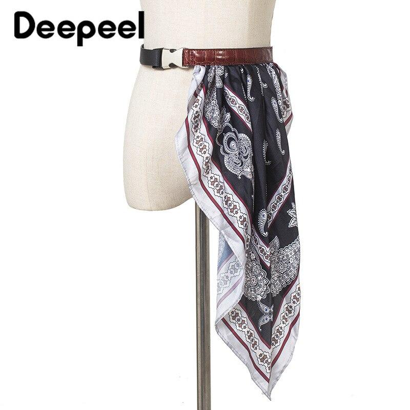 Deepeel 1pc 2.2*130cm Women PU Silk Scarf Patchwork Cummerbunds Alloy Buckle Crocodile Leather Girdle For Jeans Dress Suit CB639