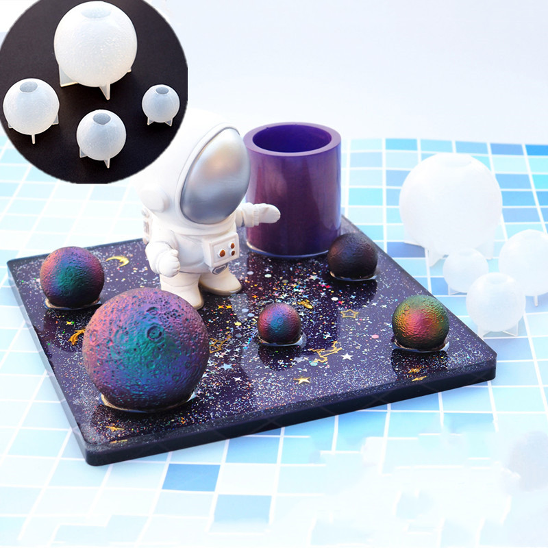 SNASAN Planet Moon Silicone Mold Jewelry Making DIY Tool UV Epoxy Resin Molds Dried Flower Resin Decorative Crafts