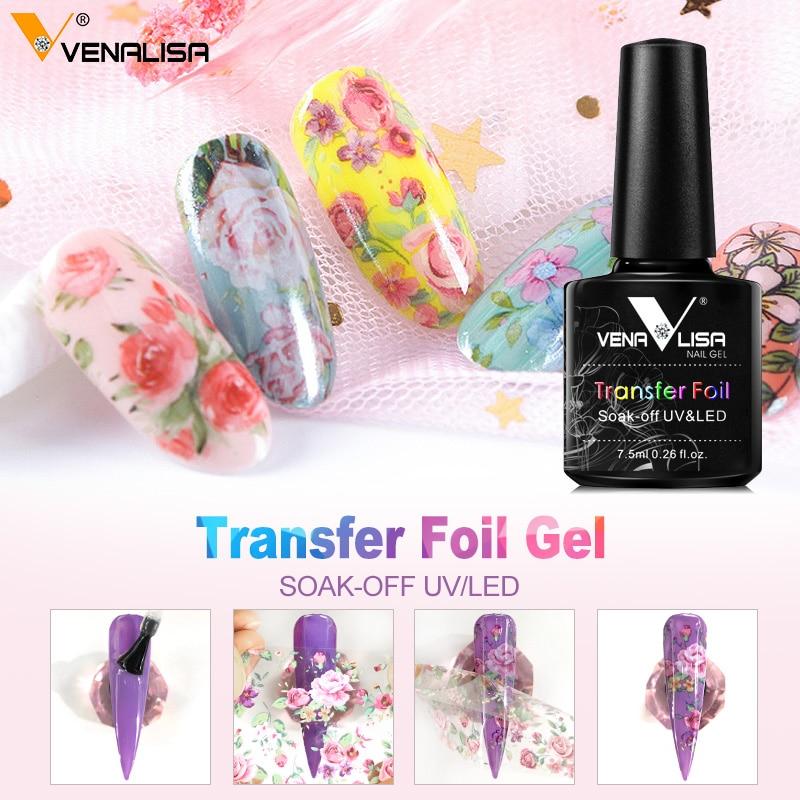 Venalisa 7.5ml Transfer Foil Gel Nail Polish Soak Off LED UV Gel Varnish Fast Dry Star Glue Stamp Gel Foil Nail Art Decoration 1
