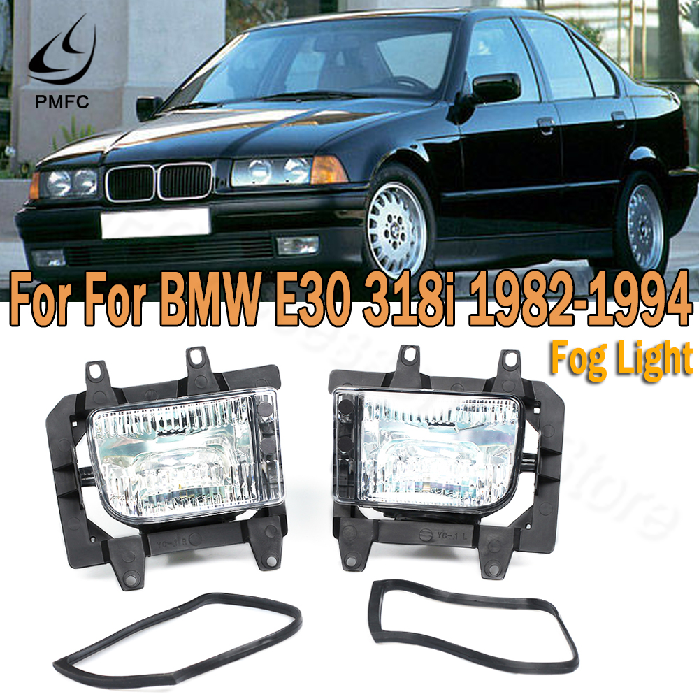PMFC Left Right Front Bumper Clear Fog Lights Car Lamp Assembly For <font><b>BMW</b></font> <font><b>E30</b></font> <font><b>318i</b></font> 320i 325i 1982-1994 63171385945 63171385946 image
