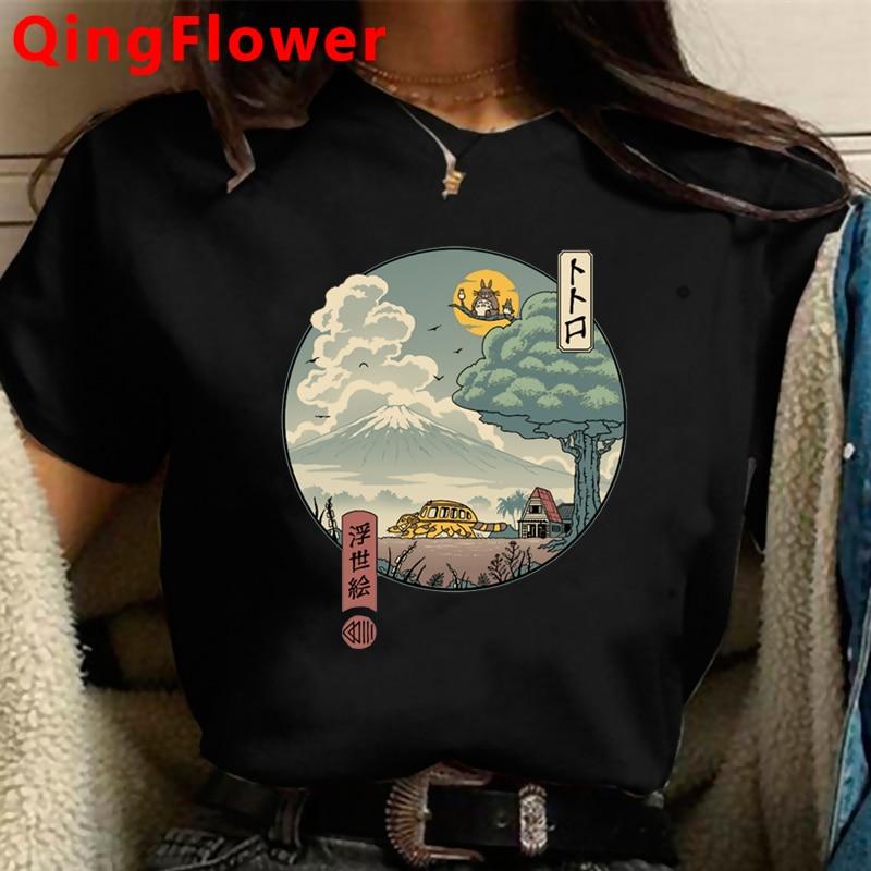 Totoro Studio Ghibli Harajuku Kawaii T Shirt Women Ullzang Miyazaki Hayao Tshirt Funny Cartoon T-shirt Cute Anime Top Tee Female