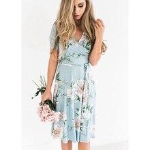 Hot Sale Women s Summer Bohemian Floral V Neck Loose Empire Short Sleeve Fashion Casual Belted Dress Midi Sundress