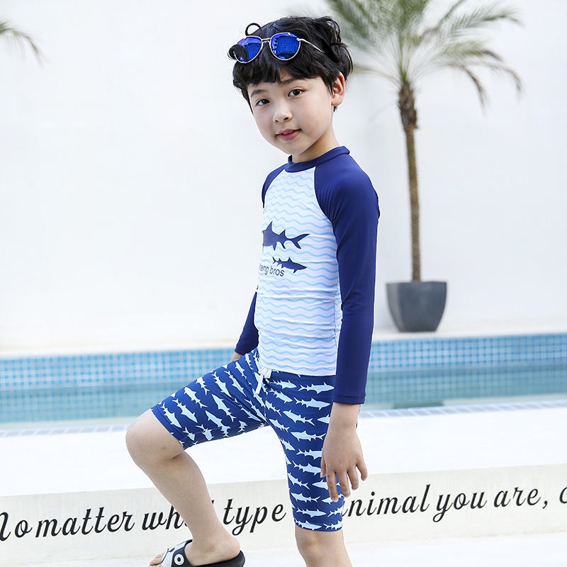 Sharp Swam New Style KID'S Swimwear R05 BOY'S Cartoon Long Sleeve Shorts Sun-resistant Quick-Drying Split Type Wetsuit Diving Su