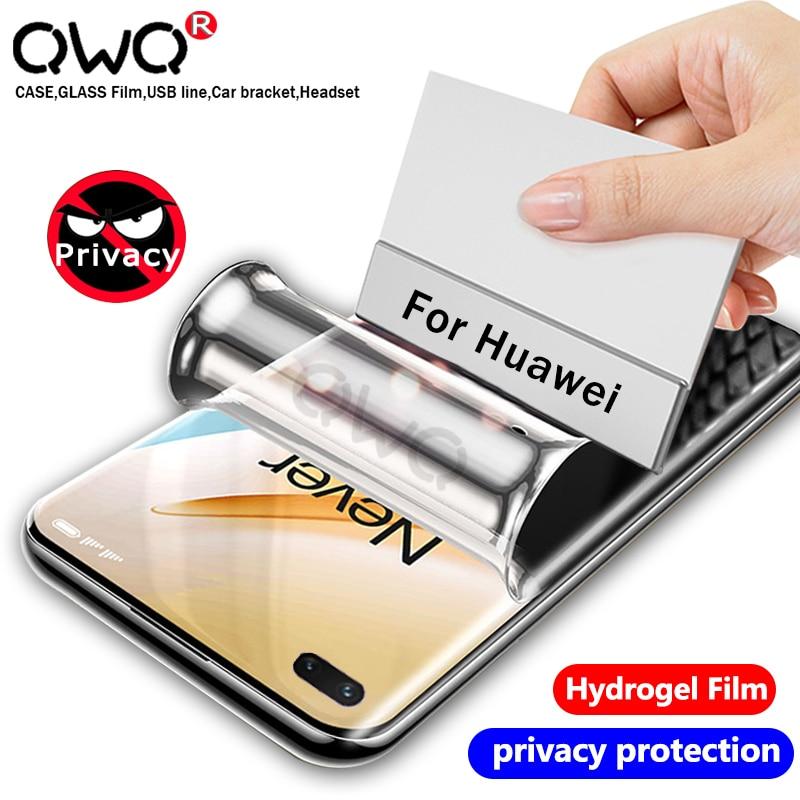Film protecteur d'écran anti-peeping pour Huawei P30 P40 Mate 20 30 Pro confidentialité Film Hydrogel souple sur Nova 7 Honor 30 Pro pas verre