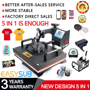 Cheap 30*38CM 5 in 1 Combo Heat Press machine Sublimation Printer printing for T-shirts Plates/Cap/Mug/Phone Covers