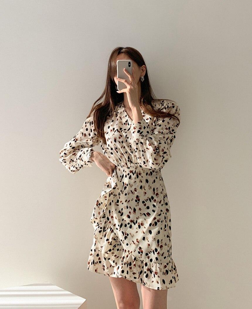 H1f99b152b630403ca54663b8f43bdb1di - Autumn V-neck Long Sleeves Floral Print Flounced Mini Dress