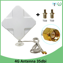 все цены на 3G 4G Antenna 35dBi 2m Cable LTE Antena 2 * SMA connector for 4G Modem Router +Adapter SMA Female to TS9 Male connector онлайн