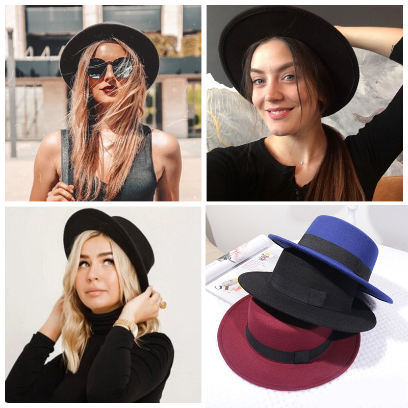 Woolen Women Hat Classic Solid Color Felt Fedoras Hats Female Lady Wide Brim Flat Top Jazz Cap Bucket Hat Winter Spring Summer