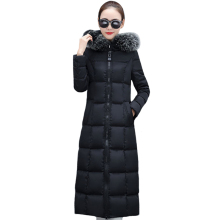 Womens Winter Jackets and Coats 2019 X-Long Parkas Women Wadded Down Jackets Female Warm Outwear Hooded Large Faux Fur Collar цены