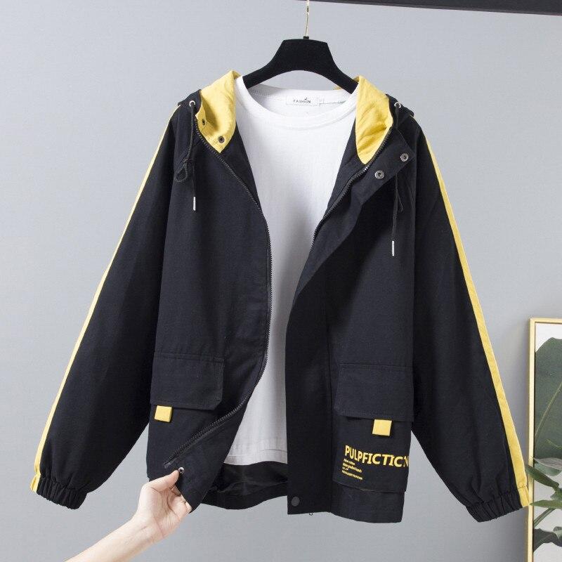 2020 New Autumn Women Jackets Hooded Long Sleeve Corduroy Patchwork Oversize Zipper Jacket Casual Windbreaker Female Outwear 332
