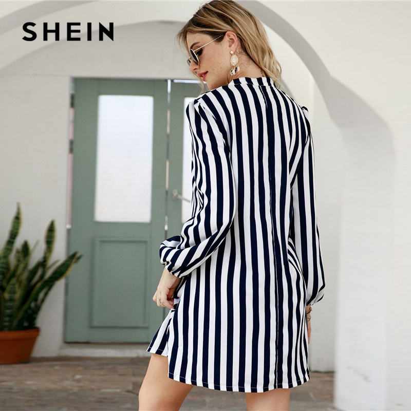SHEIN Notched Collar Striped Casual Shirt Dress Women 2020 Spring High Street Long Sleeve Basic Ladies Short Tunic Dresses 2