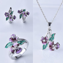 3pcs set Enamel Bohemia Purple Flower Leaf Earrings Ring Necklace Women Engagement Wedding Jewelry(China)