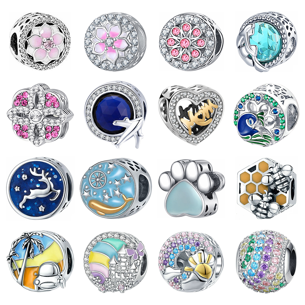 New Fashion Charms DIY Jewelry Bee Beads Fit Pandora Charms 925 Silver Bracelet European American Style Gift For Women