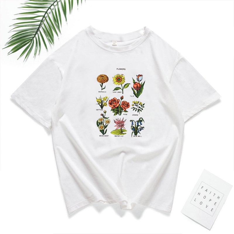 <font><b>2019</b></font> <font><b>Summer</b></font> Fashion <font><b>Women</b></font> Tee <font><b>Shirt</b></font> Tops Wildflower <font><b>Flower</b></font> Print <font><b>T</b></font> <font><b>Shirt</b></font> <font><b>Women</b></font> Short Sleeve O Neck Loose <font><b>Harajuku</b></font> Tshirt image