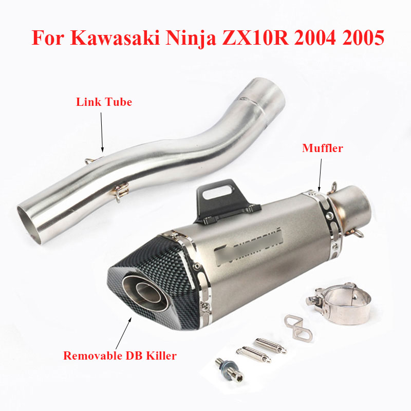 Motorcycle Exhaust Tip Muffler Baffles Silencer Connect Tube Section Middle Pipe for Kawasaki Ninja ZX10R 2004 2005|Exhaust & Exhaust Systems| |  - title=