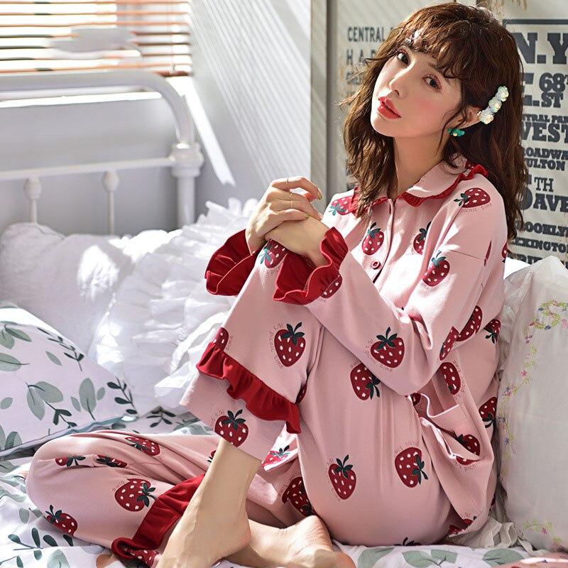 Tonmodi Дамский пижамный комплект весна и осень тонкий японский сладкий мультфильм печати с длинным рукавом милый Кукла Пижама с воротником Повседневная - Цвет: 5904
