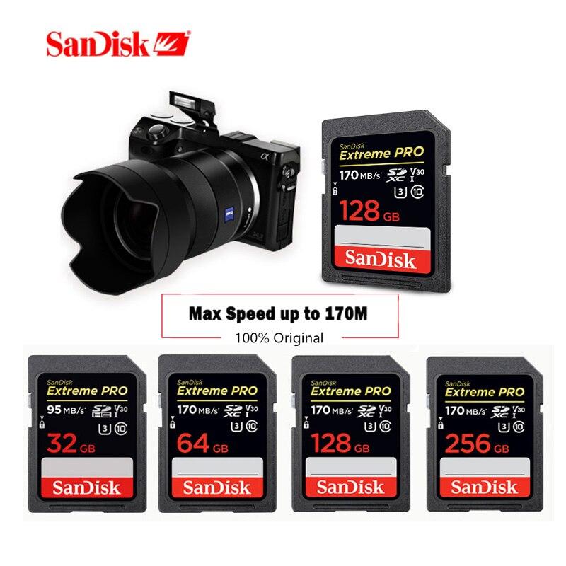 SanDisk Memory Card 128gb Extreme Pro SDHC/SDXC SD Card Up To 170MB/s 32GB 64GB 512GB 256GB Class10 U3 UHS-I 4K For DSLR Camera