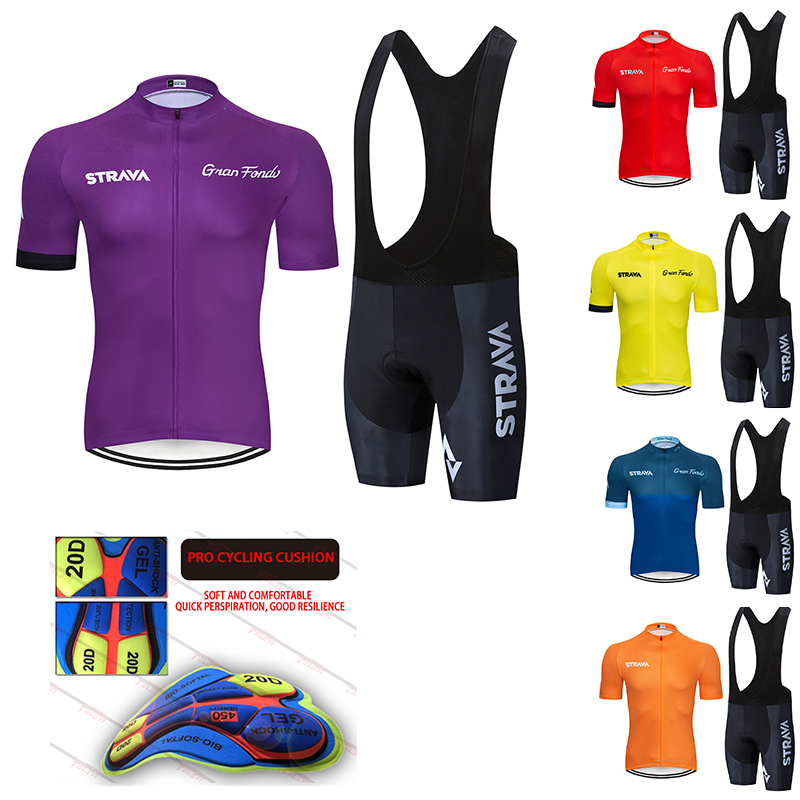NEW 5 colors STRAVA Pro Bicycle Team Short Sleeve Maillot Ciclismo Men's Cycling Jersey Summer breathable Cycling Clothing Sets
