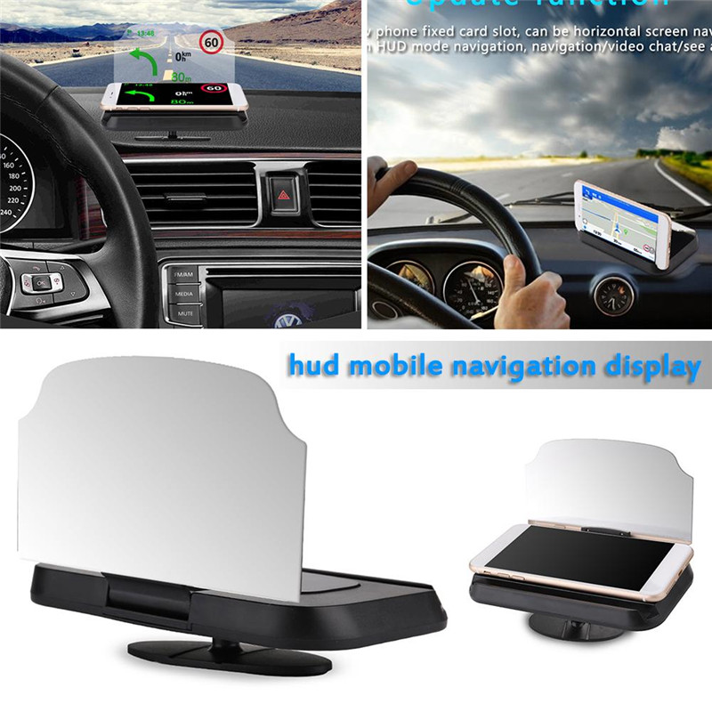 "6/"" Car Auto GPS Navigation Holder HUD Head Up Display Projector Phone W// Bracket"