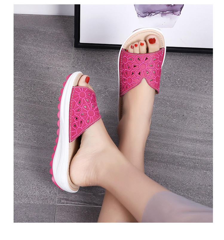 AH 1975-2020 Genuine Leather Womens Flat Slides Casual Hollows Summer Beach Flip Flops-16