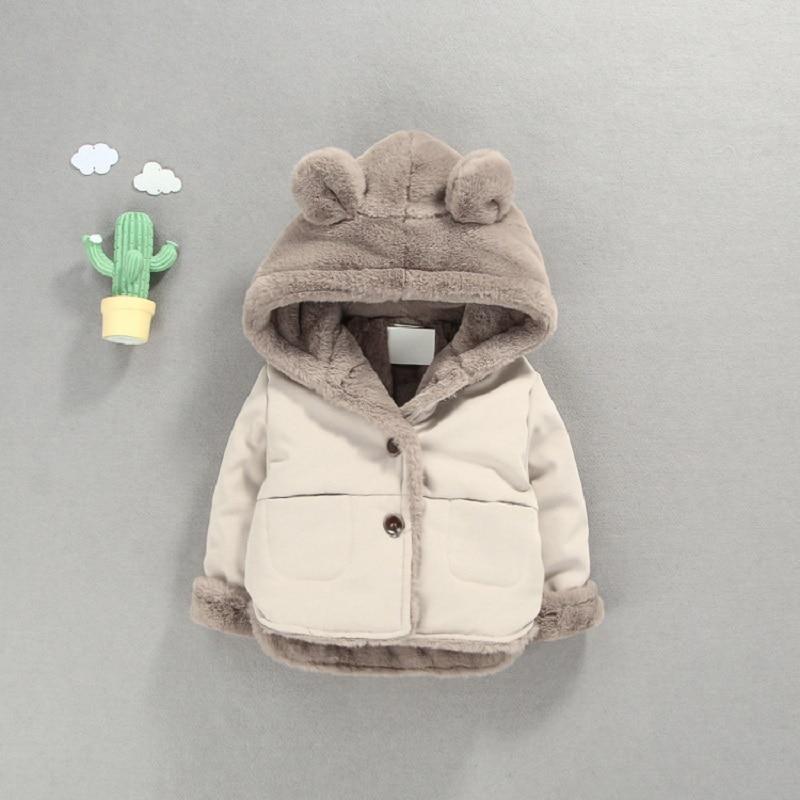 OLEKID Autumn Winter Baby Fleece Jacket Cartoon Hooded Plus Velvet Infant Boys Coat Newborn Baby Girls Outerwear Toddler Parka
