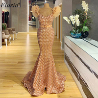 Plus Size Champagne Prom Dresses Long Formal Evening Gowns Mermaid Dresses Woman Party Night вечернее платье 2020 Vestidos