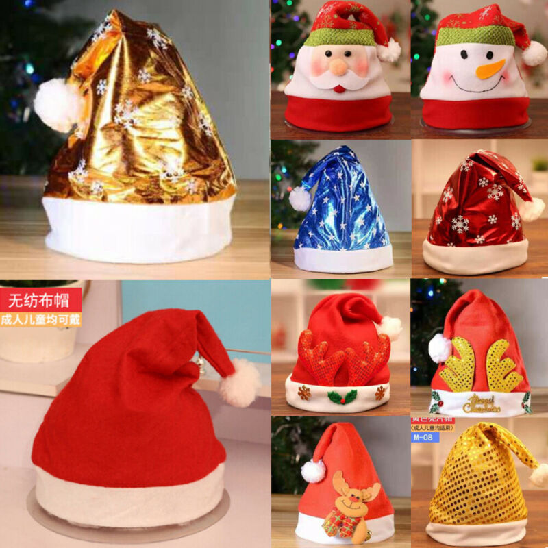 Goocheer 15 Styles Christmas Party Santa Hat Costume Santa Claus Father Christmas Cap Gift Cosplay Unisex Christmas Hats in Men 39 s Fedoras from Apparel Accessories